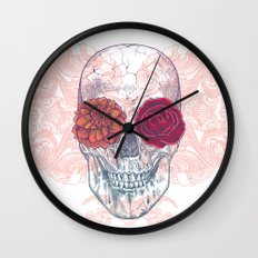 Double Flowers Skull Wall Clock