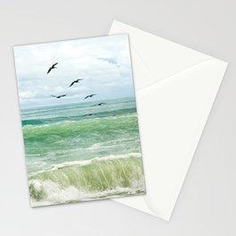 Birds flying above ocean Stationery Cards