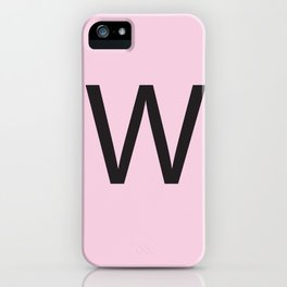Letter W Initial Monogram - Black on Cherry Blossom iPhone Case