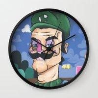 luigi Wall Clocks featuring Luigi by Cody Fisher