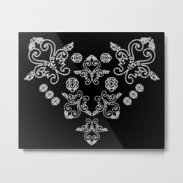 'Love' -  Heart of lace in black and white Metal Print
