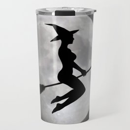 Witch On a Broom Against the Moon Travel Mug