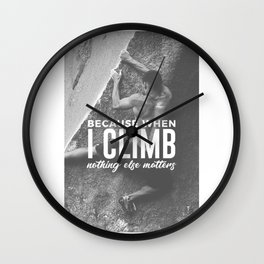 Climbing Nothing Else Matters Climbers Rock Wall Sport Wall Clock