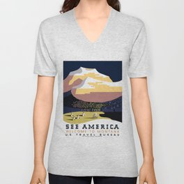 Vintage See America - Montana Travel Unisex V-Neck