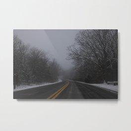 Winter road Metal Print
