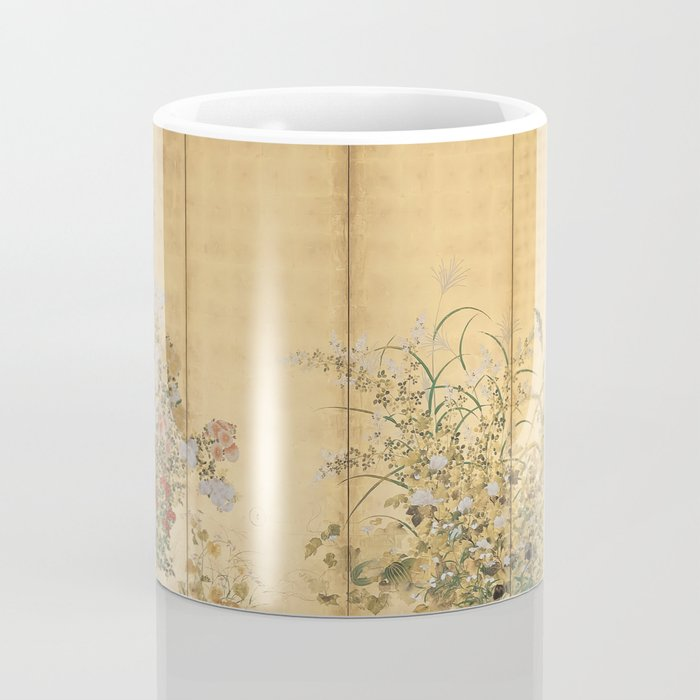 Japanese Edo Period Six-Panel Gold Leaf Screen - Spring and Autumn Flowers Coffee Mug