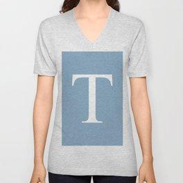 Letter T sign on placid blue background Unisex V-Neck