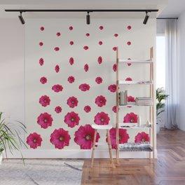WHITE DOUBLE CERISE HOLLYHOCK FLOWERS GARDEN Wall Mural