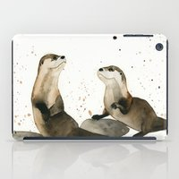 otters iPad Cases featuring Otters by Priscilla George