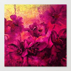 floral in deep pink and yellow Canvas Print