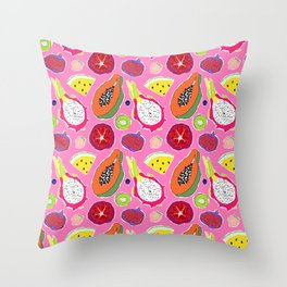 Seedy Fruits in Hot Neon Pink Throw Pillow