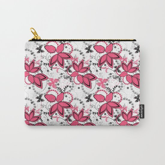 Pink black and white floral pattern . Carry-All Pouch