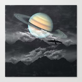 Saturn above mountains Canvas Print