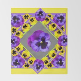 GEOMETRIC  PURPLE & YELLOW  PANSIES ON BUTTER YELLOW Throw Blanket