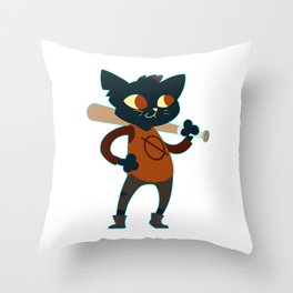 trash mammal night in the woods Throw Pillow