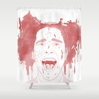 patrick Shower Curtains featuring Patrick Bateman by Itxaso Beistegui Illustrations