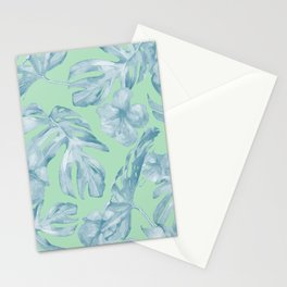 Tropical Leaves and Flowers Luxe Pastel Sea Turquoise Blue Green Stationery Cards