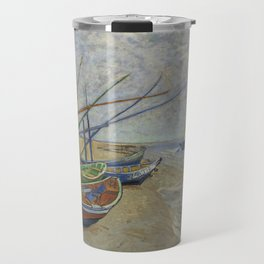 "Vincent Van Gogh ""Fishing boats on the Beach at Les Saintes-Maries-de-la-Mer"" Travel Mug"