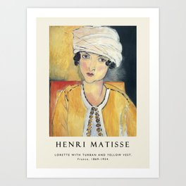 Vintage poster-Henri Matisse-Lorette with turban and yellow vest. Art Print