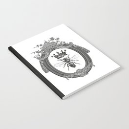 Queen Bee | Vintage Bee with Crown | Black, White and Grey | Notebook