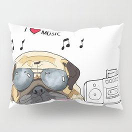 I love music-rock pug Pillow Sham