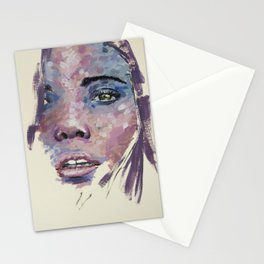 Pink and blue face Stationery Cards