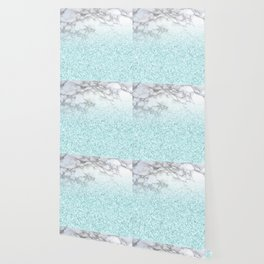 Pretty Turquoise Sparkles on Gray and White Marble Wallpaper
