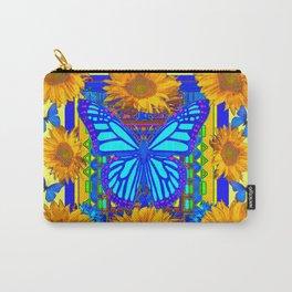 Yellow Gold Flowers Blue Butterflies Art Carry-All Pouch