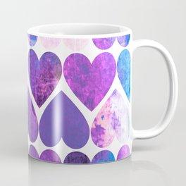 Mod Purple & Blue Grungy Hearts Design Coffee Mug