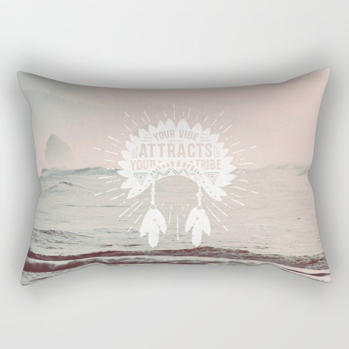 Your Vibe Attracts Your Tribe - Pacific Ocean Rectangular Pillow