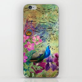 Elegant Peacock Image and Musical Notes iPhone Skin
