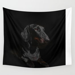 Black Dachshund Wall Tapestry