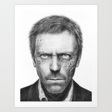 House MD Zombie Portrait Hugh Laurie Art Print