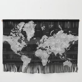 Black and grey watercolor world map with cities Wall Hanging