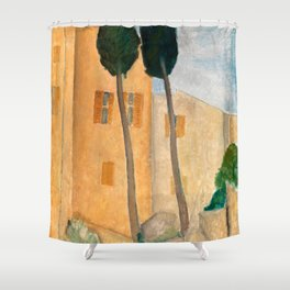 """Amedeo Modigliani """"Cypresses and Houses at Cagnes (Cyprès et maisons à Cagnes)"""" Shower Curtain"""