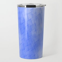 Line texture of blue oblique dashes with a dark intersection on a luminous charcoal. Travel Mug
