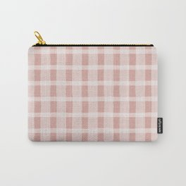 Pink and White Jagged Edge Plaid Carry-All Pouch