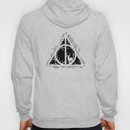 Deathly Hallows - brenches and stag - voids and silhouette (black) - Expecto Patronum | potterheads Hoody