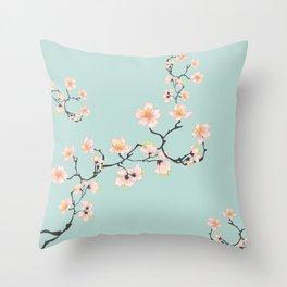 Sakura Cherry Blossoms x Mint Green Throw Pillow