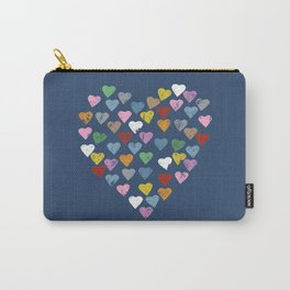 Distressed Hearts Heart Navy Carry-All Pouch