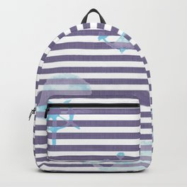 Whale Watercolor Linen Stripes Backpack