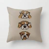 english bulldog Throw Pillows featuring Noevil English Bulldog by Huebucket