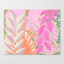 Modern Jungle Plants - Pink Green Purple Canvas Print