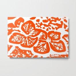 Red Linocut of Hydrangea Metal Print