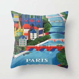 Paris Vintage Travel Poster Throw Pillow