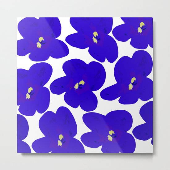 Blue Retro Flowers Metal Print