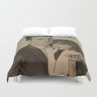 allyson johnson Duvet Covers featuring JAMIE DORNAN - DAKOTA JOHNSON by Virginieferreux