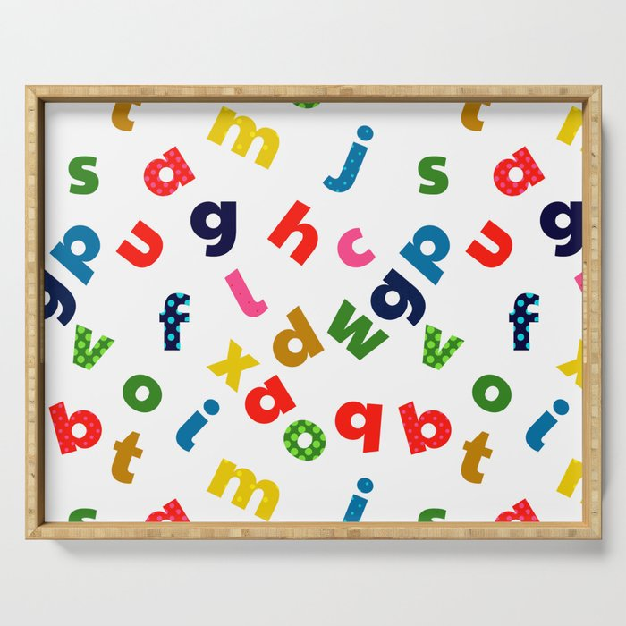 colourful alphabet Serving Tray