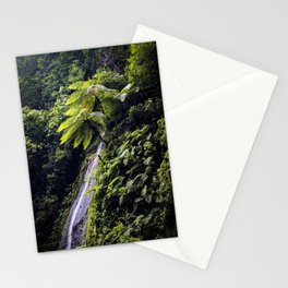 Waterfall Coming Down the Mountainside with Ferns and Lush Trees in Chocoyero-El Brujo, Nicaragua Stationery Cards