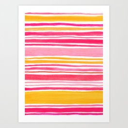 Pink and Yellow Sunny Day Stripes Art Print
